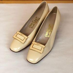 SALE! Salvatore Ferragamo sand buckle heels New
